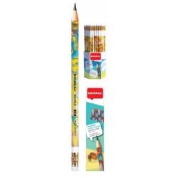 Pieštukas NATARAJ su trintuku padrožtas, HB, su piešinukais, 1 vnt