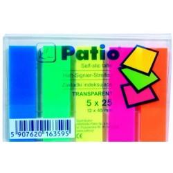 Žymekliai, 12x45 mm, plastikiniai, 5 spalvos po 25 lapelius