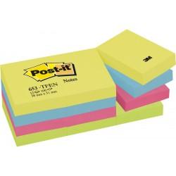 """Lipnūs lapeliai POST-IT """"Energetic colours"""", 38 x 51 mm, 100 lapelių, įvairūs ryškūs atspalviai"""