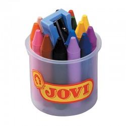 Vaškinės kreidelės su drožtuku JOVI, 16 spalvų