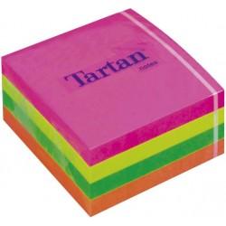 Lipnūs lapeliai TARTAN kubas 76 x 76 mm, 400 lapelių, įvairios spalvos