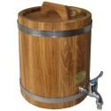 Bačkutė gėrimams 15 l, ąžuolinė. Išskirtinė kokybė, nerūdijančio plieno lankai