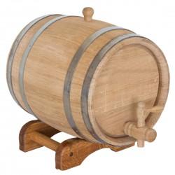 Statinė gėrimams 5 l, ąžuolinė. Nerūdijančio plieno lankai, medinis kranelis. Tinka gėrimų brandinimui