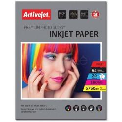 Foto popierius, blizgus Activejet, A4, 180g/m2 20 lapų, RAŠALINIAM SPAUSDINTUVUI