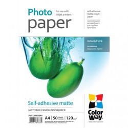 Foto popierius ColorWay matinis, lipnus 50 lapų, A4, 120 g/m², rašaliniam spausdintuvui