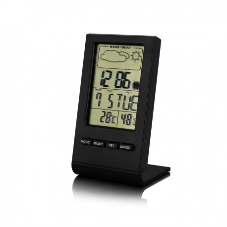 MiniMu vidaus temperatūros, drėgmės matuoklis su laikrodžio, datos ir orų prognozės funkcijomis