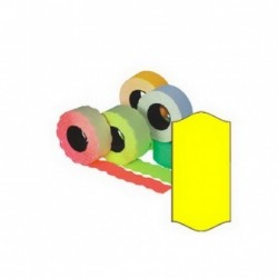 Kainų etiketės 26x16 mm, su bangele 5 x 1000 vnt., geltona