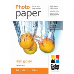 ColorWay High Glossy Photo Paper, 100 sheets, A4, 200 g/m²