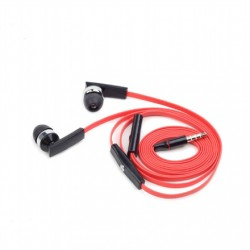 Gembird Porto earphones with microphone and volume control with flat cable 3.5 mm, Red/Black, Built-in microphone