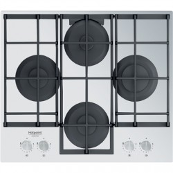 Hotpoint Hob HAGS 61F/WH Gas on glass, Number of burners/cooking zones 4, Mechanical, White