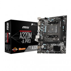 MSI A320M-A PRO Processor family AMD, Processor socket AM4, DDR4, Memory slots 2, Supported hard disk drive interfaces SATA, Num