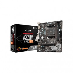 MSI A320M-A PRO MAX Processor family AMD, Processor socket AM4, DDR4, Memory slots 2, Supported hard disk drive interfaces SATA,